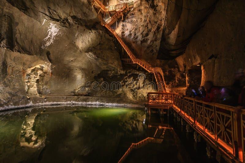 Lago na mina de sal de Wieliczka fotografia de stock