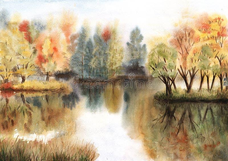 Lago nel parco di autunno royalty illustrazione gratis