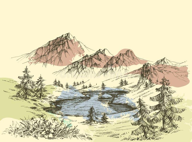 Lago nelle montagne illustrazione di stock