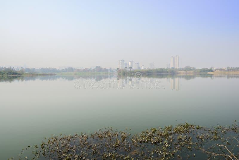 Lago nevoento perto da cidade moderna no meio-dia ensolarado do inverno fotos de stock