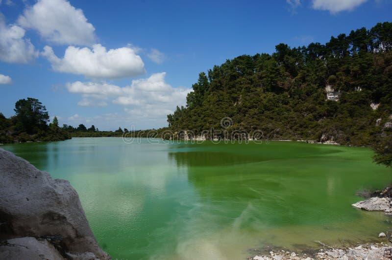 Lago Ngakoro, WaiOTapu, Nova Zelândia imagem de stock