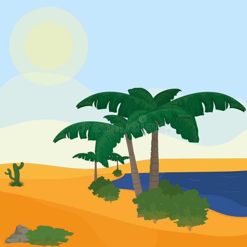 Lago no deserto ilustração royalty free