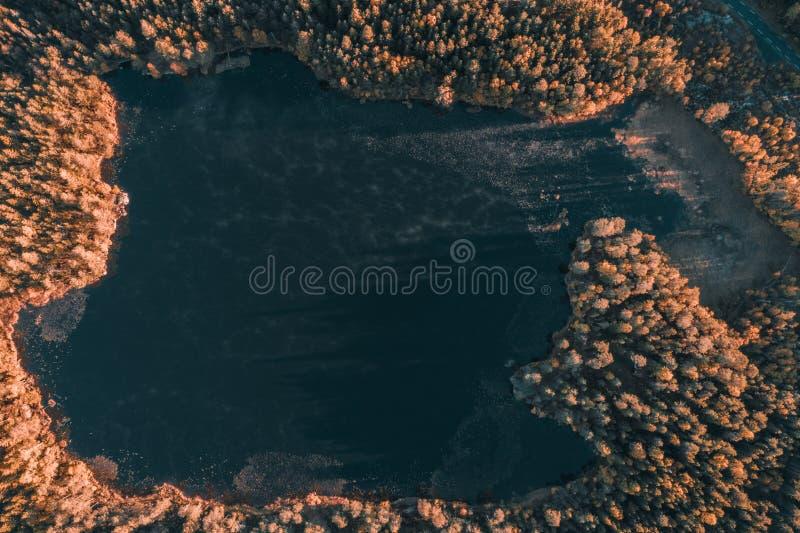 Lago no outono - arial alto fotografia de stock royalty free
