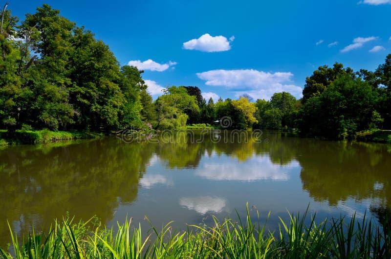 Lago no parque de Lednice fotografia de stock royalty free