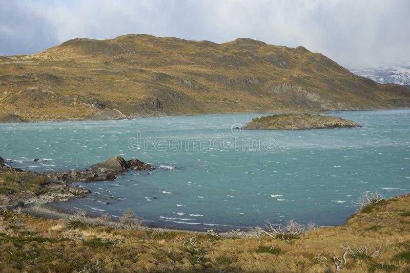 Lago Nordenskjold, parc national de Torres del Paine, Chili photos libres de droits