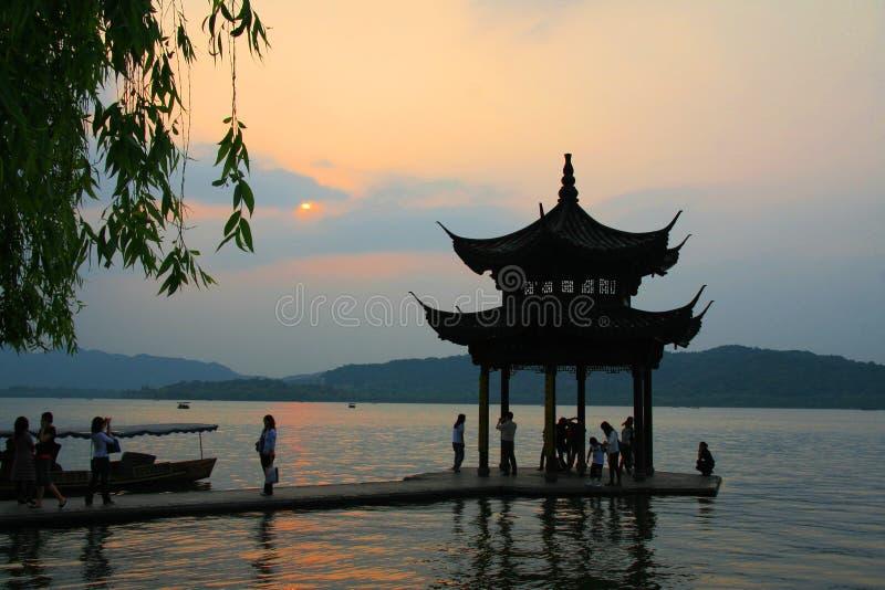 Lago ocidental em Hangzhou fotos de stock