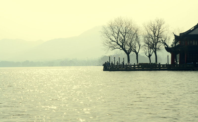 Lago ocidental Hangzhou China imagens de stock royalty free