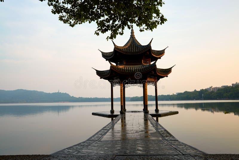 Lago ocidental Hangzhou, Zhejiang, China fotografia de stock
