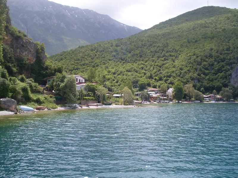 Lago Ohrid em Macedônia fotografia de stock