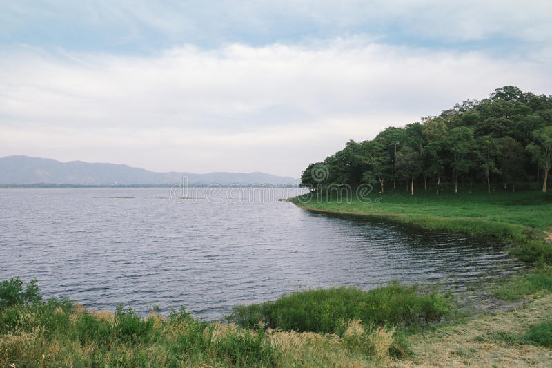 Lago pacífico en día nublado foto de archivo