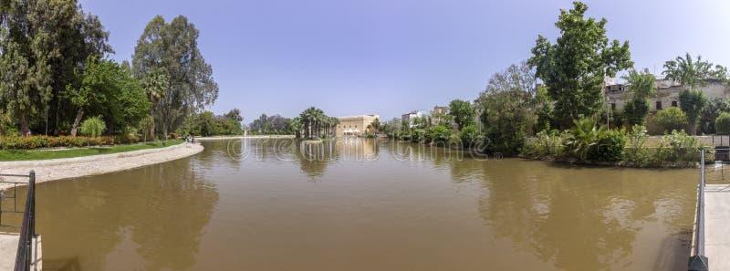 Lago panorâmico de Jnan Sbil Bou Jeloud Gardens, no fez fotografia de stock