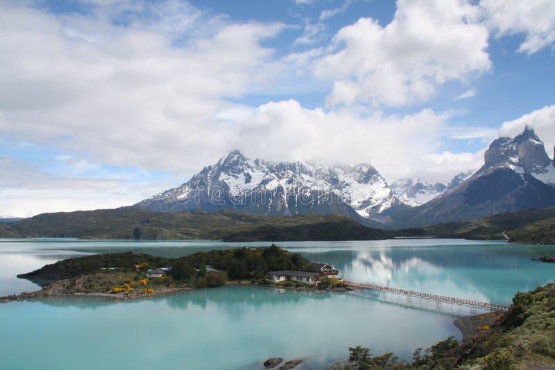 Lago Pehoé, o Chile fotos de stock royalty free