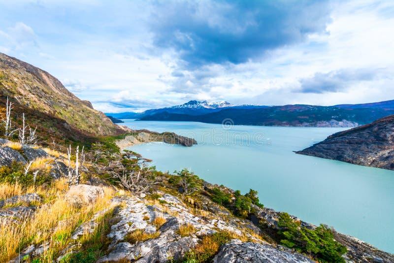Lago Pehoe, Patagonia, Chile, campo de hielo patagón meridional, Cordi fotos de archivo libres de regalías