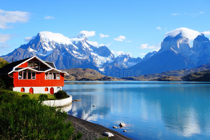 Lago Pehoe, Torres Del Paine National Park, Patagonia, Cile immagine stock