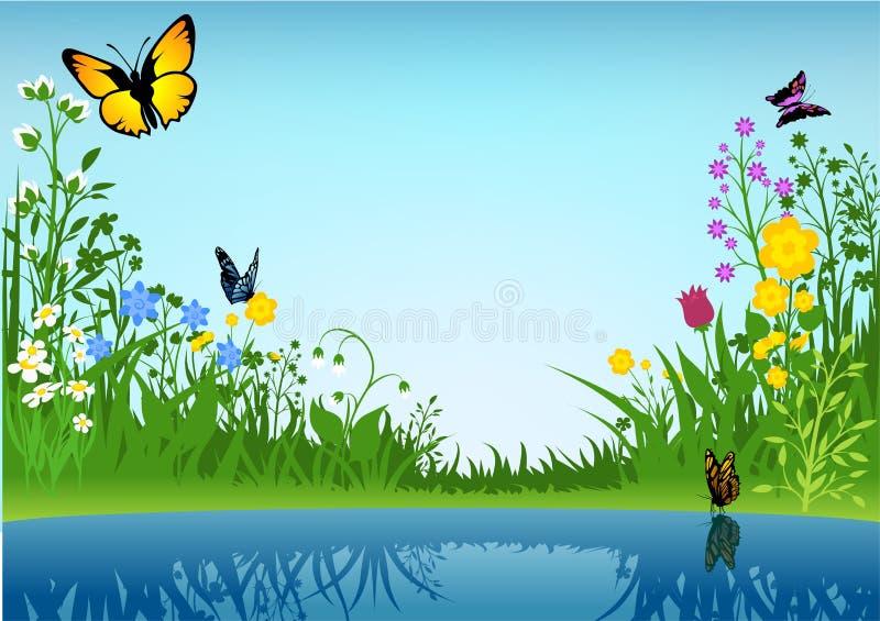 Lago pequeno e borboletas ilustração do vetor