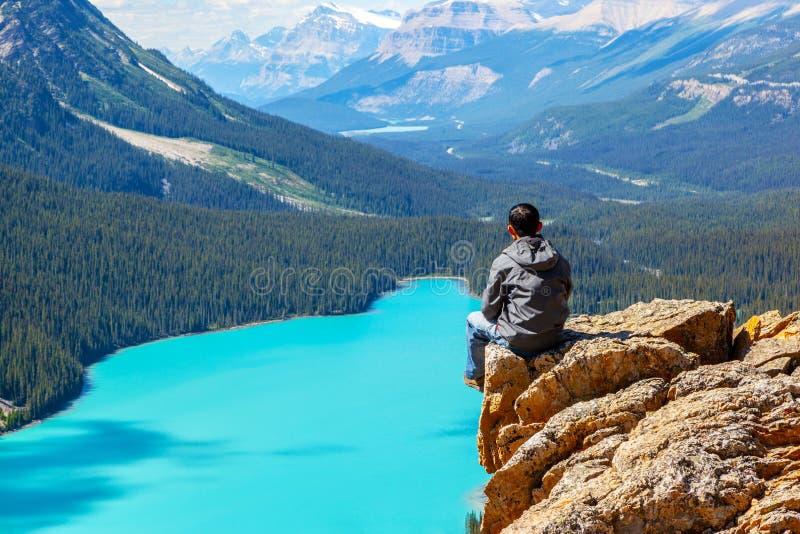 Lago Peyto en el parque nacional de Banff en la ruta verde de Icefields fotografía de archivo libre de regalías