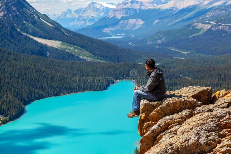 Lago Peyto en el parque nacional de Banff en la ruta verde de Icefields foto de archivo libre de regalías