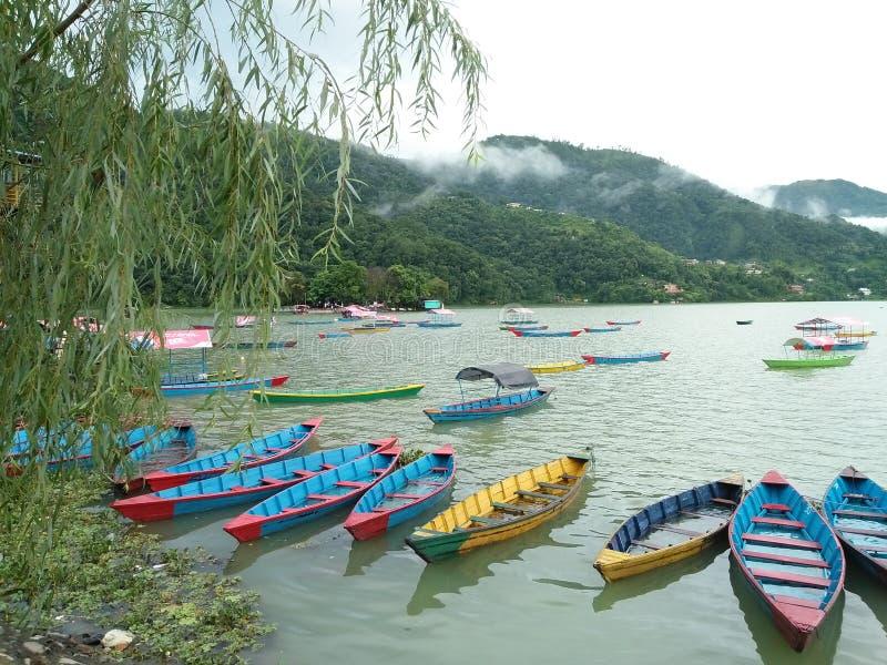 Lago Phewa, Pokhara fotos de stock royalty free