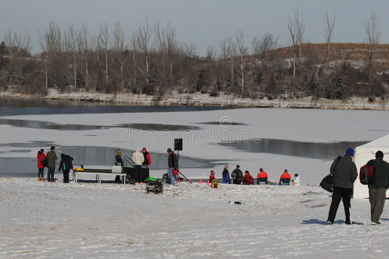 Lago polare ed impostazione plunge del Nebraska di giochi paraolimpici immagini stock