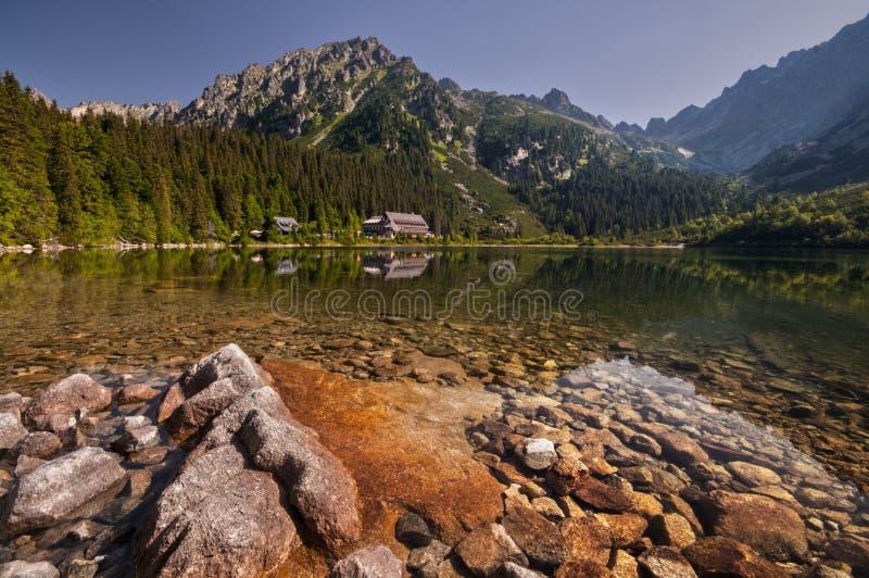 Lago Popradske Pleso fotografia stock