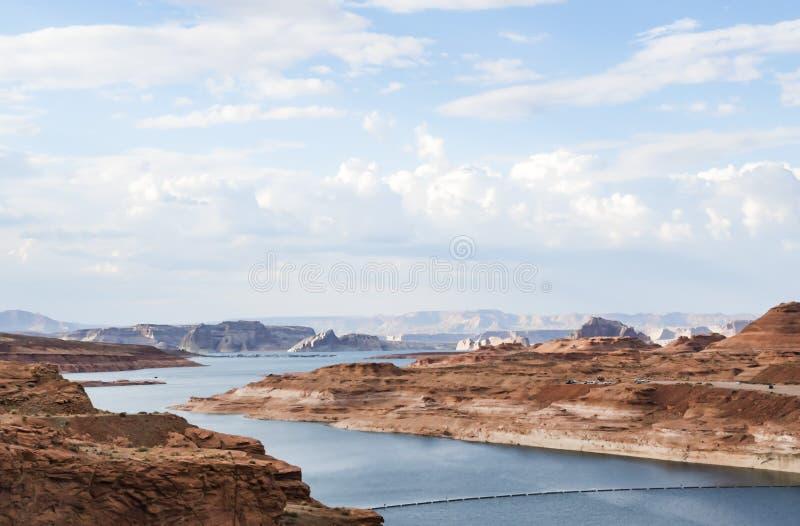 Lago Powell em uma tarde ensolarada Glen Canyon, página imagem de stock