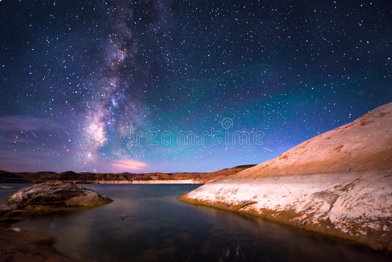 Lago Powell Utah milky Way foto de archivo