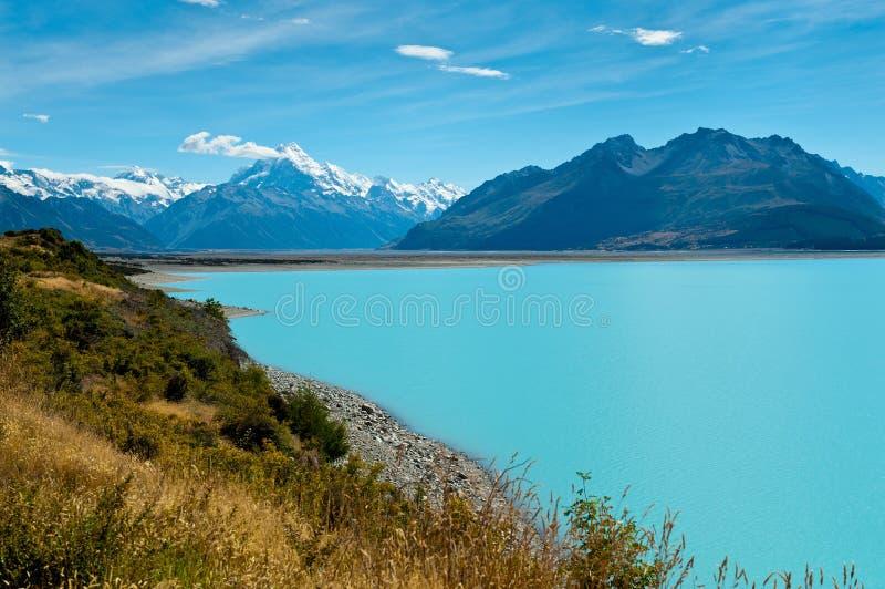 Lago Pukaki e cuoco del supporto immagini stock libere da diritti