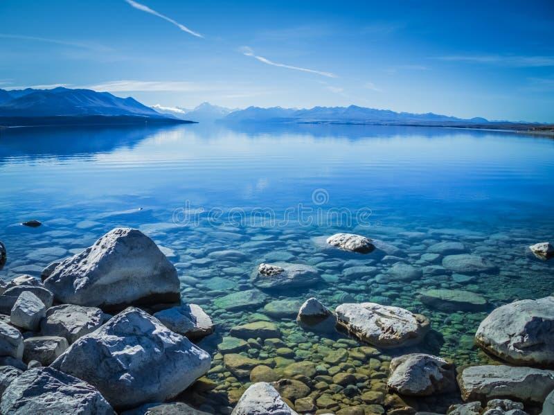 Lago Pukaki in Nuova Zelanda fotografia stock