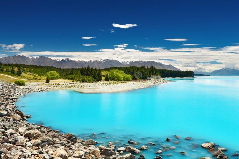 Lago Pukaki, Nuova Zelanda fotografia stock libera da diritti