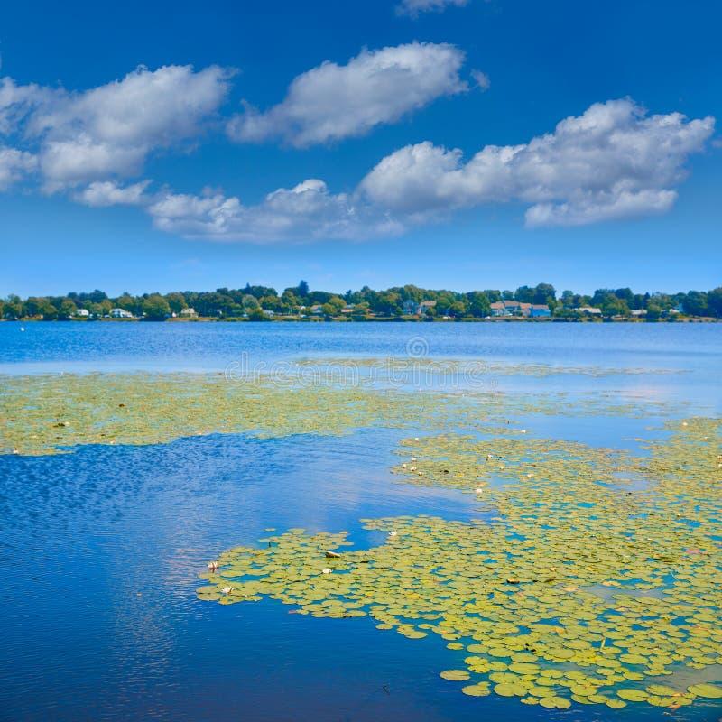 Lago Quannapowitt en Wakefield cerca de Boston foto de archivo
