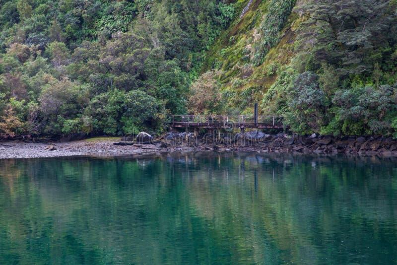 Lago reflection en Milford Sound, parque nacional de Fiordland, Nueva Zelanda fotografía de archivo