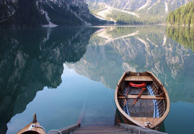 Lago robi Braies obraz stock