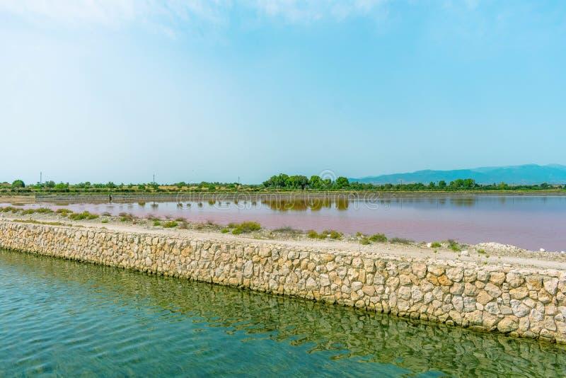 Lago rosa nell'isola della Sardegna immagine stock