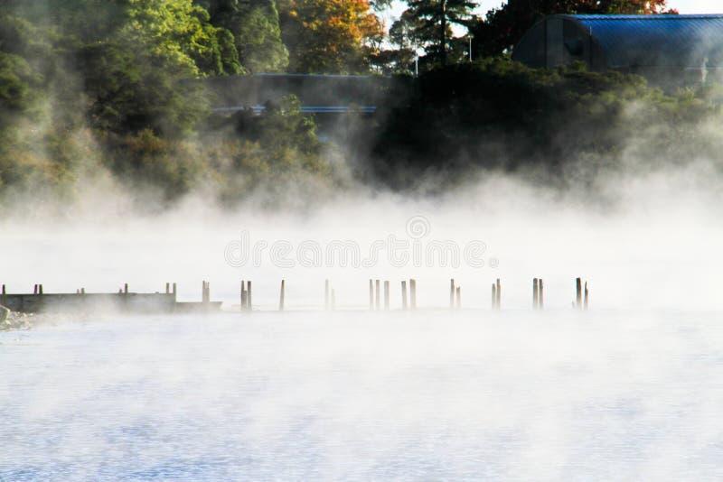 Lago Rotomahana na manhã, Rotorua fotografia de stock royalty free