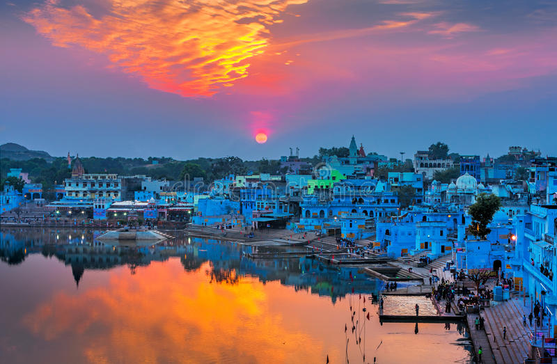 Lago sagrado Pushkar, Rajasthan, Índia imagem de stock royalty free