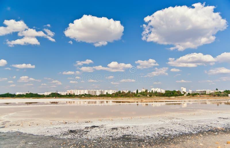 Lago salato in Crimea. fotografie stock