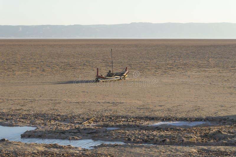 Lago salt en Sáhara túnez imagen de archivo