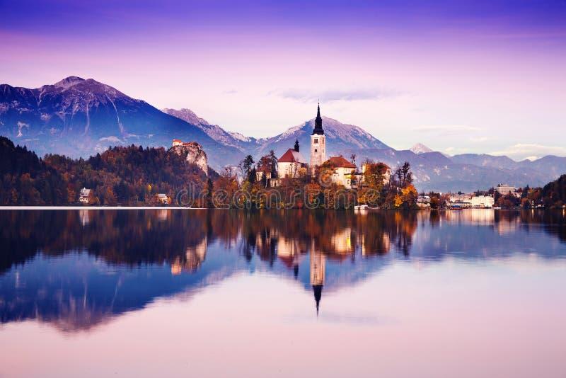 Lago sangrado de surpresa no por do sol, Eslovênia, Europa fotografia de stock royalty free