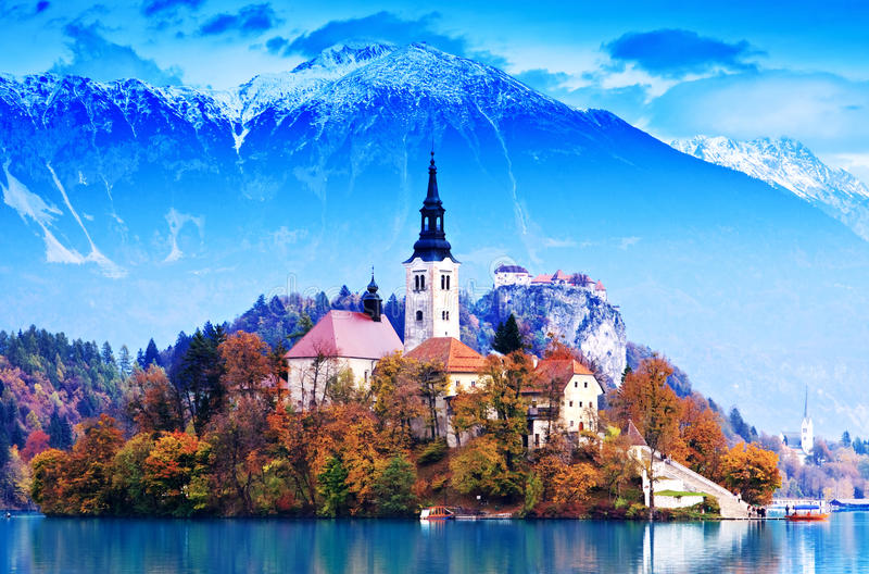 Lago sangrado do whit, Slovenia, Europa imagem de stock royalty free