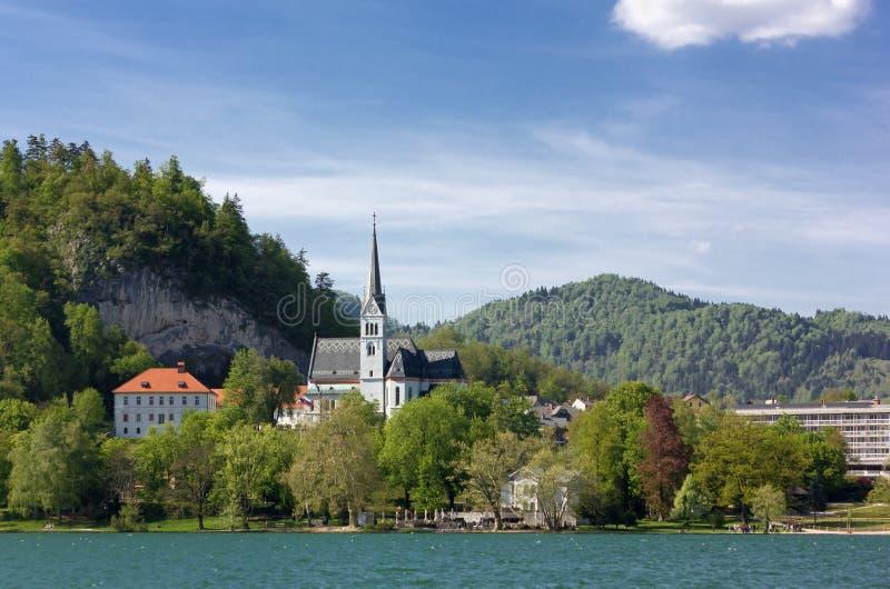 Lago sangrado e Saint Martin Church na primavera foto de stock