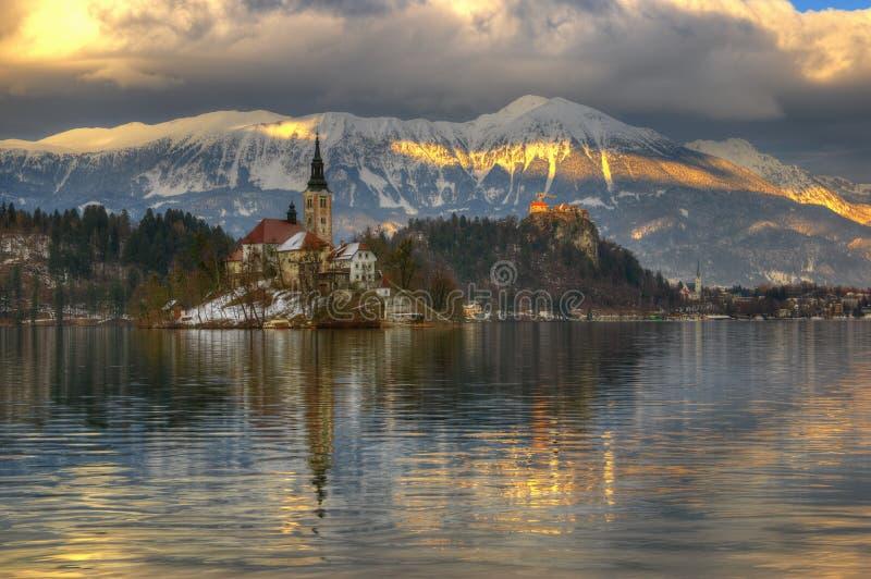 Lago sangrado, la iglesia de la suposición de la Virgen María y castillo sangrado, isla sangrada, Eslovenia - imagen del invierno foto de archivo