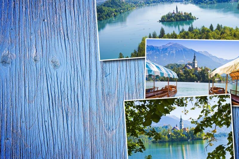 Lago sangrado, o lago o mais famoso em Eslovênia com a ilha de t imagem de stock