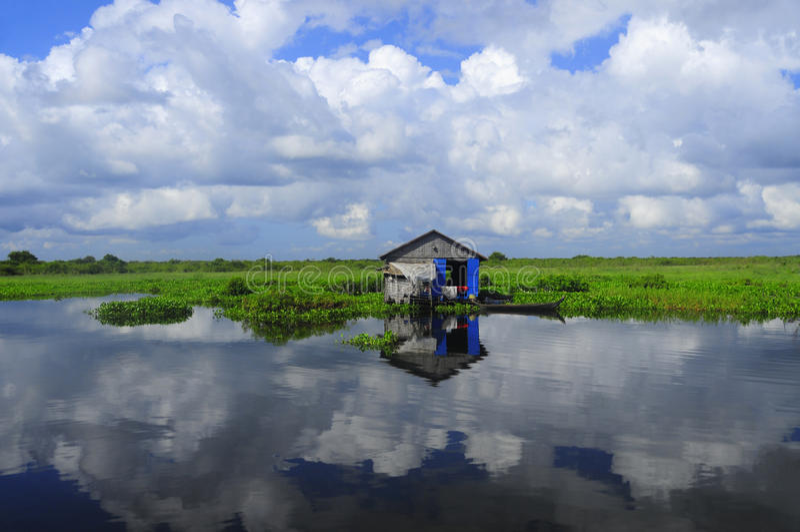 Lago sap de Tonle, Cambodia imagens de stock