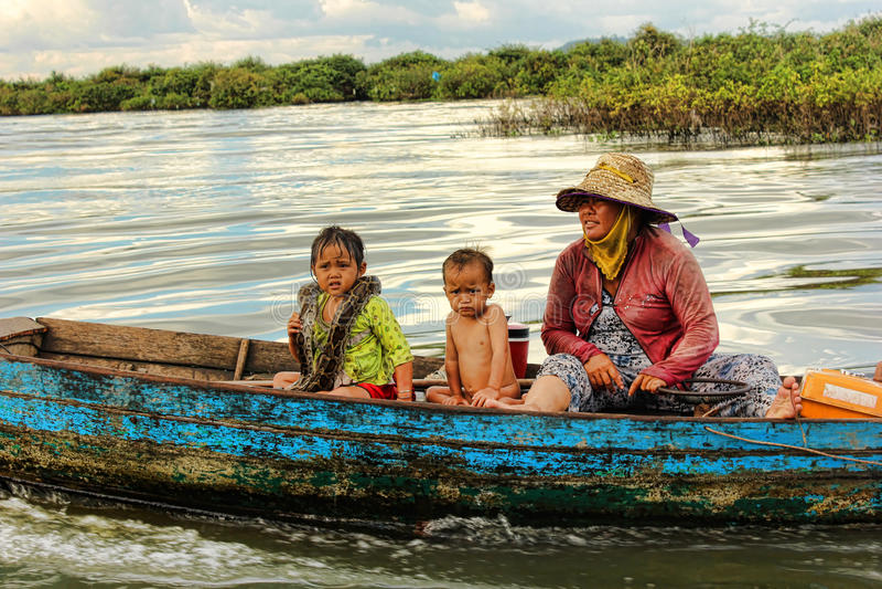 Lago sap di Tonle, Cambogia fotografia stock libera da diritti