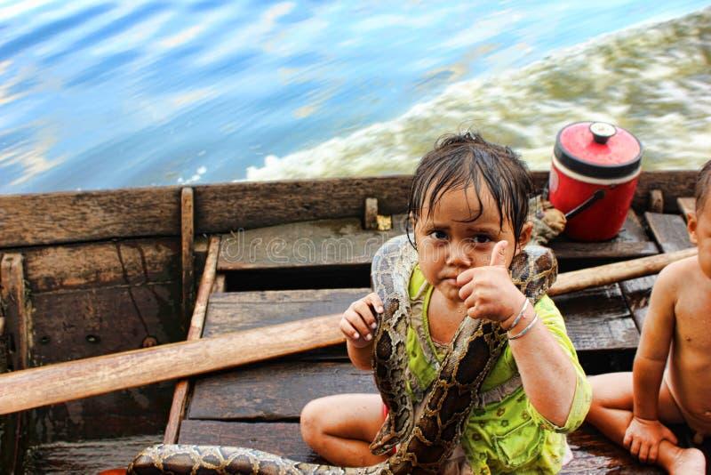 Lago sap di Tonle, Cambogia fotografia stock