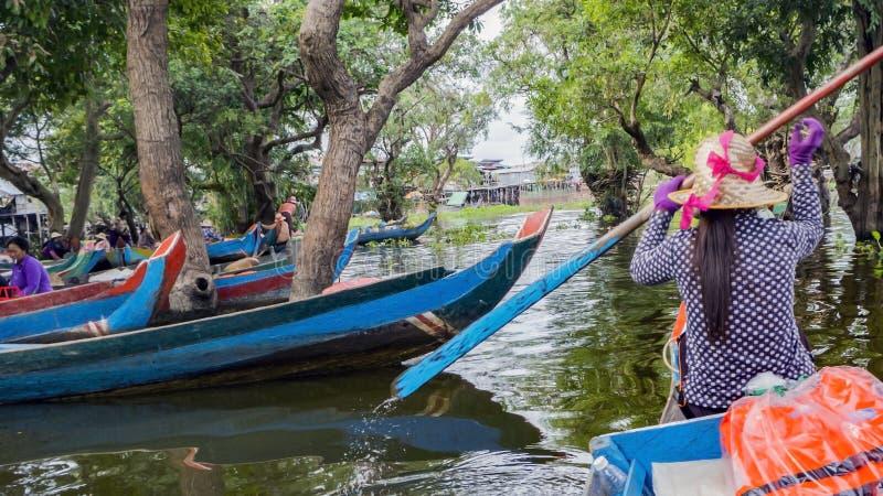 Lago sap di Tonle, villaggio fotografia stock libera da diritti