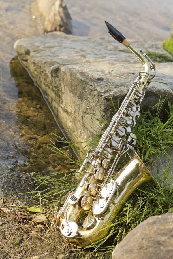 Lago saxophone imagenes de archivo