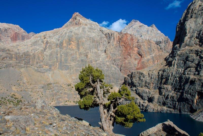 Lago scenico in montagne del fan in Pamir, Tagikistan fotografia stock libera da diritti