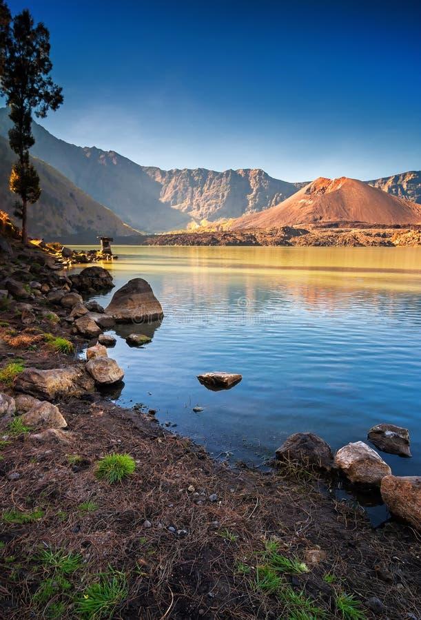 Lago Segara Anak, supporto Rinjani Lombok fotografia stock libera da diritti