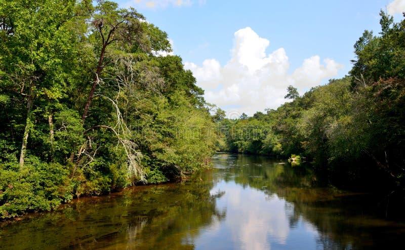Lago sereno calmo del fiume con le nuvole riflettenti fotografia stock libera da diritti